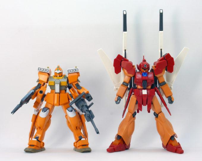 HGBDジェガンブラストマスターとジムIIIビームマスターの比較ガンプラレビュー画像です