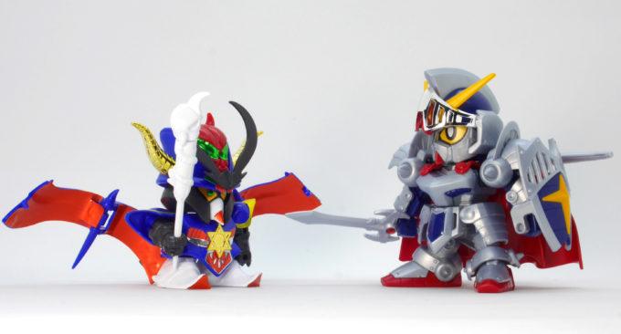 BB戦士ブラックドラゴンと騎士ガンダムのガンプラレビュー画像です