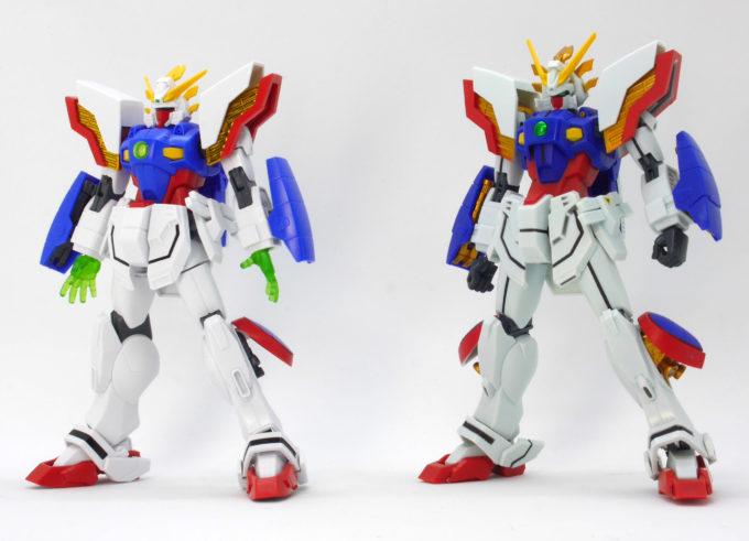 HGとロボット魂シャイニングガンダムの比較画像です