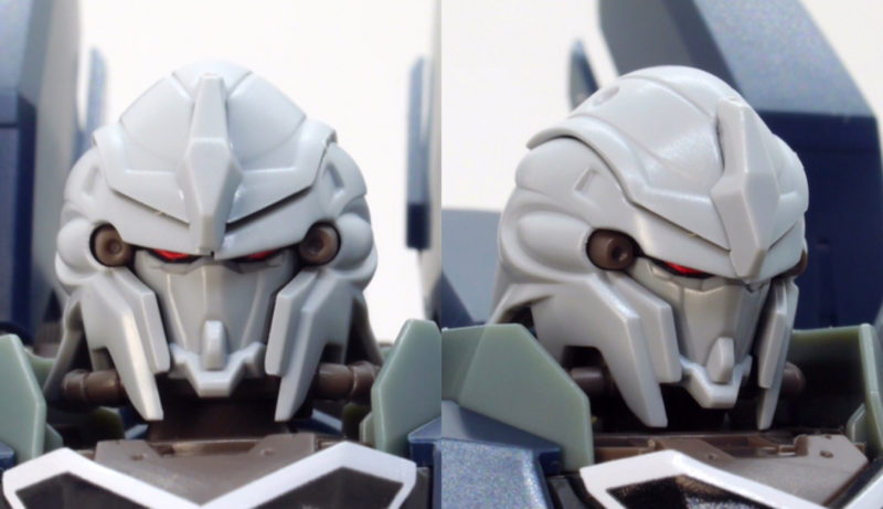 HGUCシナンジュ・スタイン (ナラティブVer.)の頭部のガンプラレビュー画像です