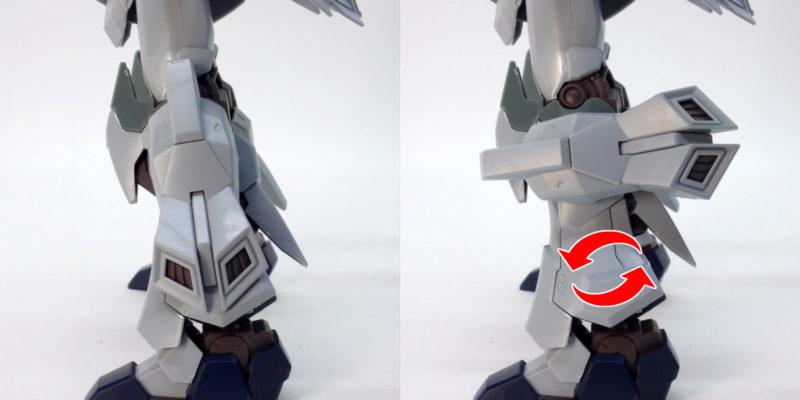 HGUCシナンジュ・スタイン (ナラティブVer.)の脚部可動のガンプラレビュー画像です
