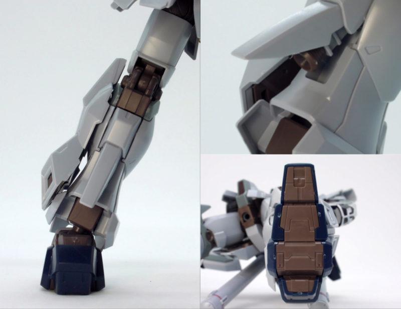 HGUCシナンジュ・スタイン (ナラティブVer.)の脚部と足裏のガンプラレビュー画像です