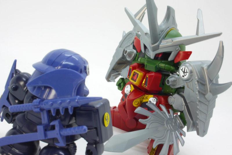 BB戦士影忍者シャザクと闇将軍のガンプラレビュー画像です