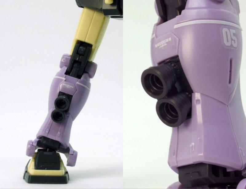 HGジム・インターセプトカスタムの脚部のガンプラレビュー画像です