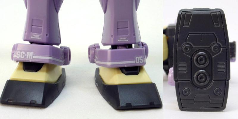 HGジム・インターセプトカスタムのアンクルガードと脚裏のガンプラレビュー画像です