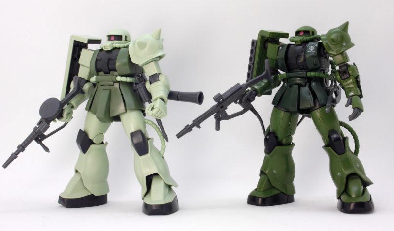 HGザクIIC型(C-5型)とHGUCザクの比較ガンプラレビュー画像です