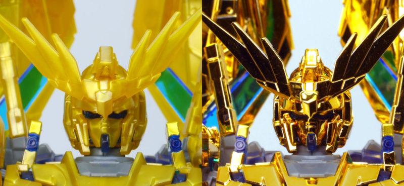 HGUCフェネクスのゴールドコーティングと通常版の違い・比較ガンプラレビュー画像です
