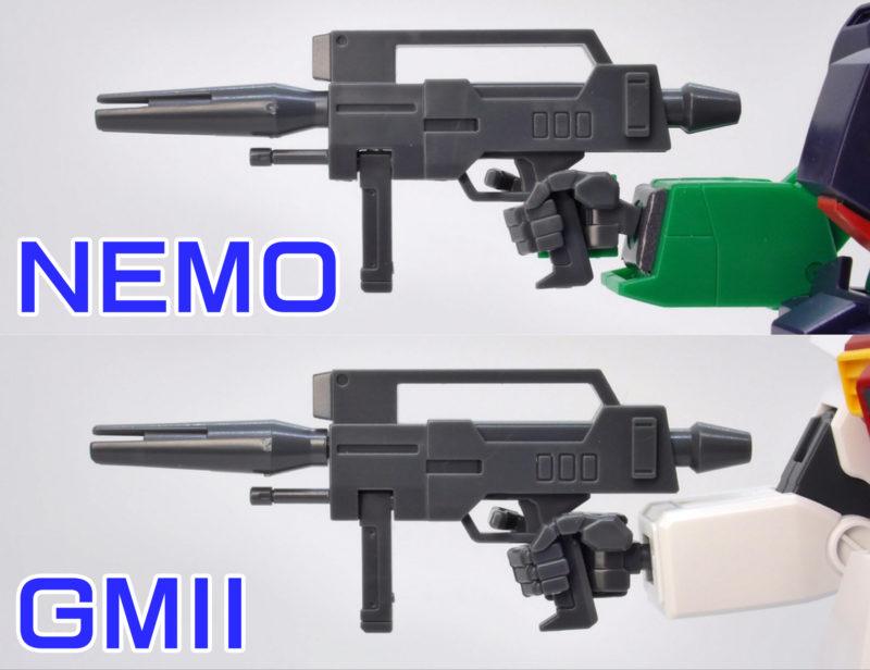 HGUCネモとジムIIのライフルの比較ガンプラレビュー画像です