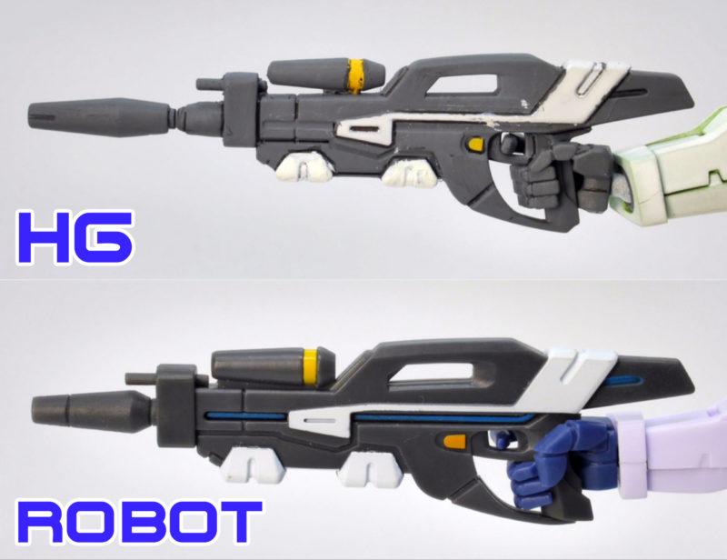 HGとROBOT魂〈SIDE MS〉G-セルフ(リフレクターパック)の違い・比較レビュー画像です