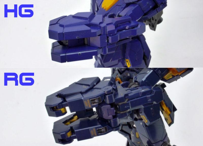 HGとRGのバンシィの違い・比較ガンプラ画像です