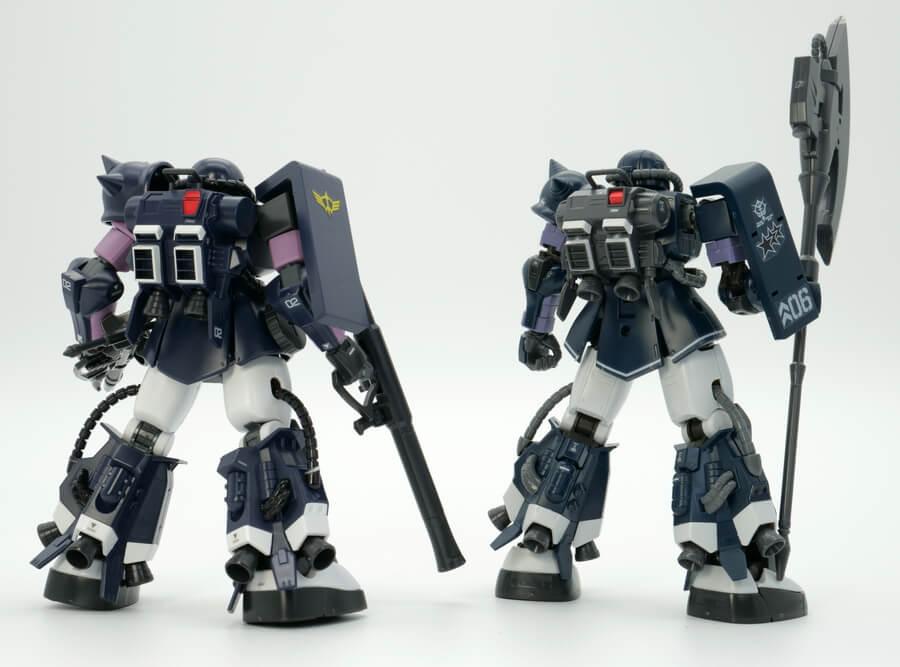 HGUCとオリジン版の高機動型ザクIIの違い・比較ガンプラ画像です