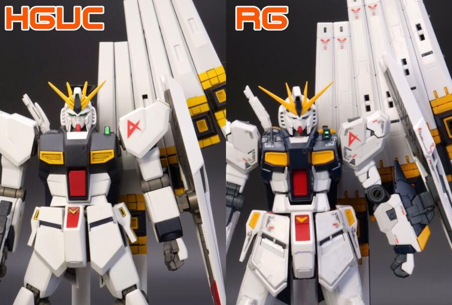 HGとRGのνガンダムの違い・比較ガンプラ画像です