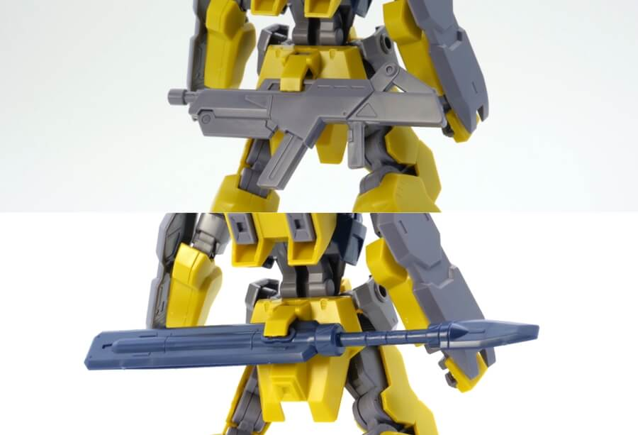 HGイオフレーム獅電改(シデン改 ライド機・雷電号)のガンプラレビュー画像です