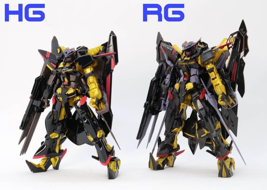 HGとRGのゴールドフレーム天ミナの違い・比較のガンプラレビュー画像です