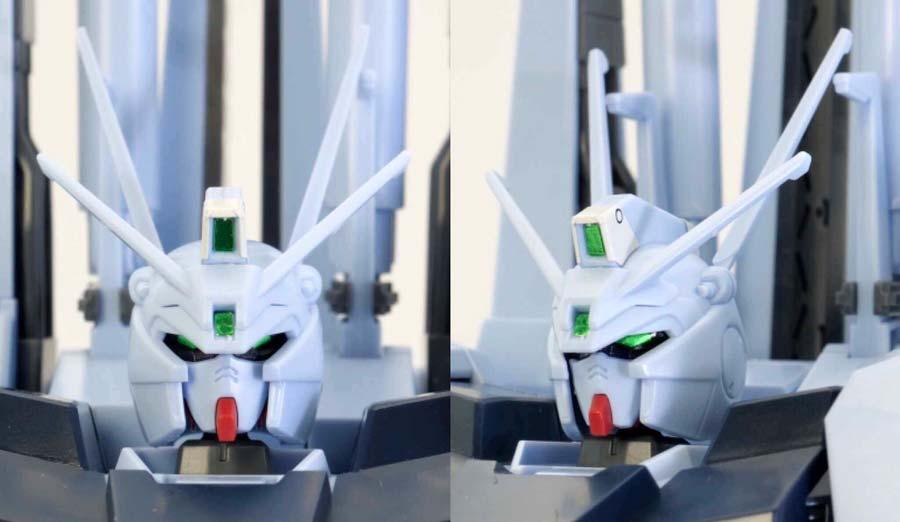 HGシルヴァ・バレト(ファンネル試験型)の頭部のガンプラレビュー画像です