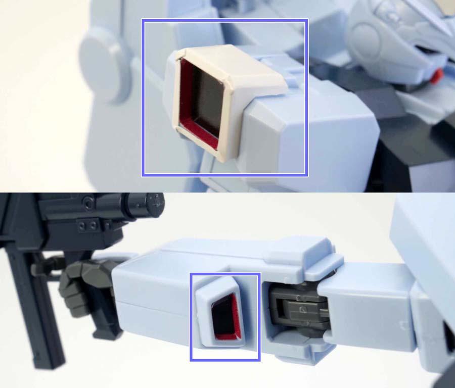 HGシルヴァ・バレト(ファンネル試験型)の肩・腕のガンプラレビュー画像です