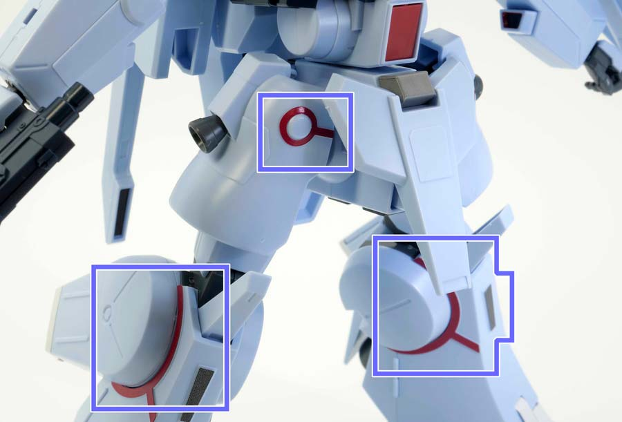 HGシルヴァ・バレト(ファンネル試験型)の下半身のシールのガンプラレビュー画像です