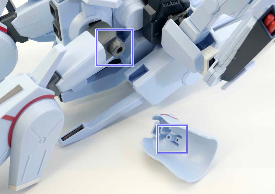 HGシルヴァ・バレト(ファンネル試験型)の腰部サイドアーマーのガンプラレビュー画像です