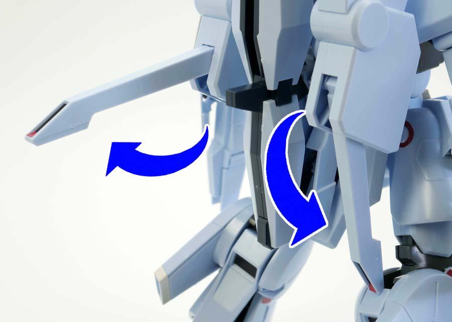 HGシルヴァ・バレト(ファンネル試験型)の背部のガンプラレビュー画像です