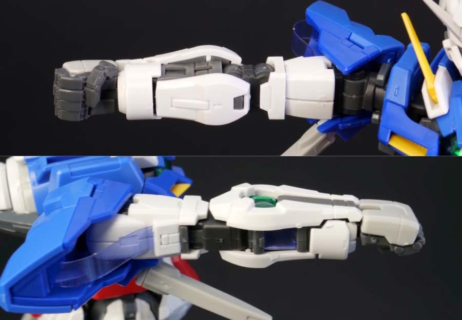 RGガンダムエクシアの腕のガンプラレビュー画像です