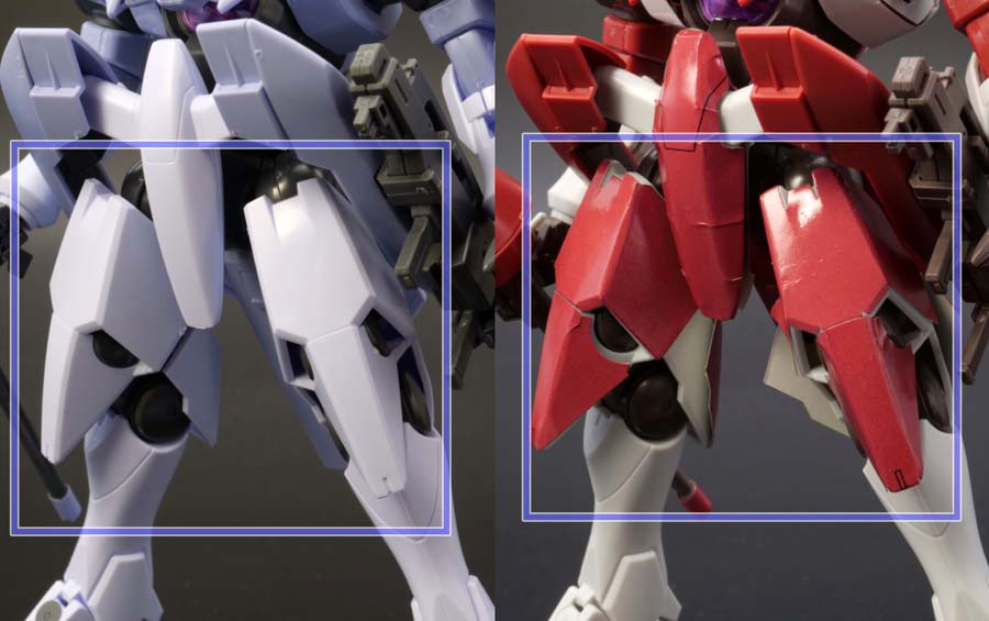 HGジンクス3のアロウズ型と連邦軍型の比較ガンプラレビュー画像です