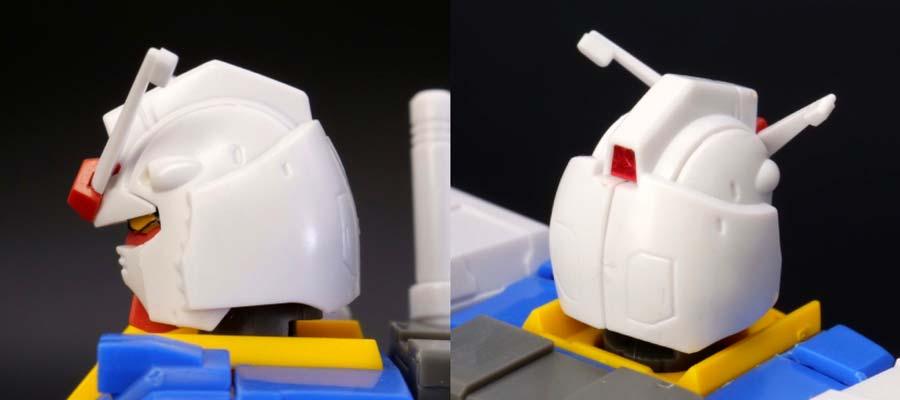 HG 1/144 RX-78-02 ガンダム(GUNDAM THE ORIGIN版)の前期型の頭部側面・後頭部の画像です