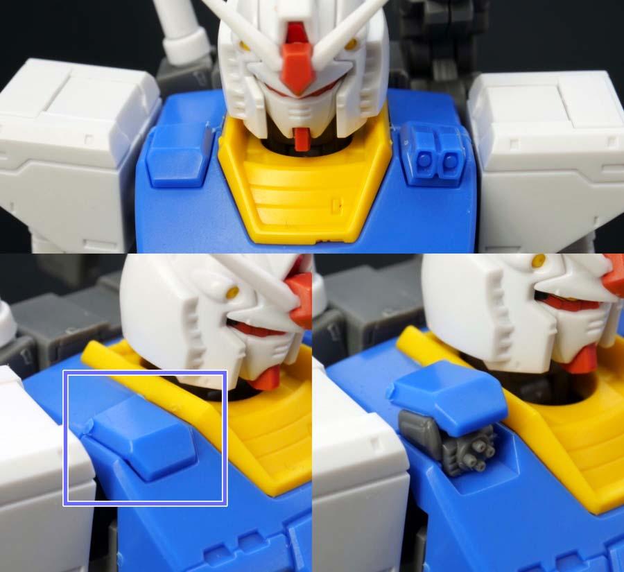 HG 1/144 RX-78-02 ガンダム(GUNDAM THE ORIGIN版)の前期型の胸部の画像です
