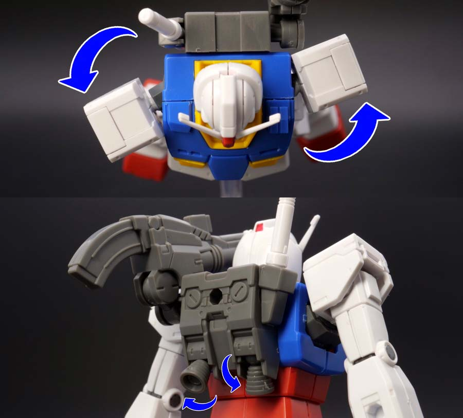 HG 1/144 RX-78-02 ガンダム(GUNDAM THE ORIGIN版)の前期型の肩可動とランドセルの画像です
