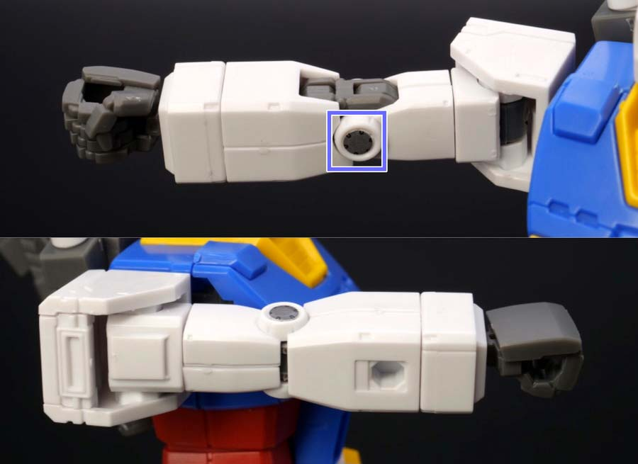HG 1/144 RX-78-02 ガンダム(GUNDAM THE ORIGIN版)の前期型の腕部の画像です