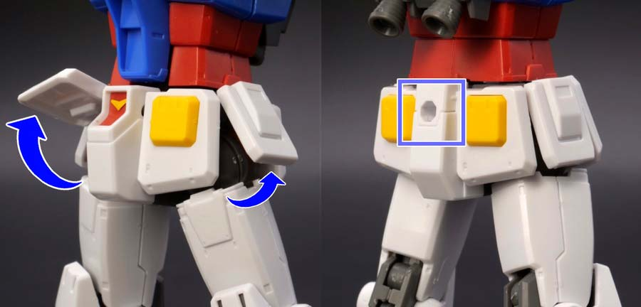 HG 1/144 RX-78-02 ガンダム(GUNDAM THE ORIGIN版)の前期型の腰部の画像です