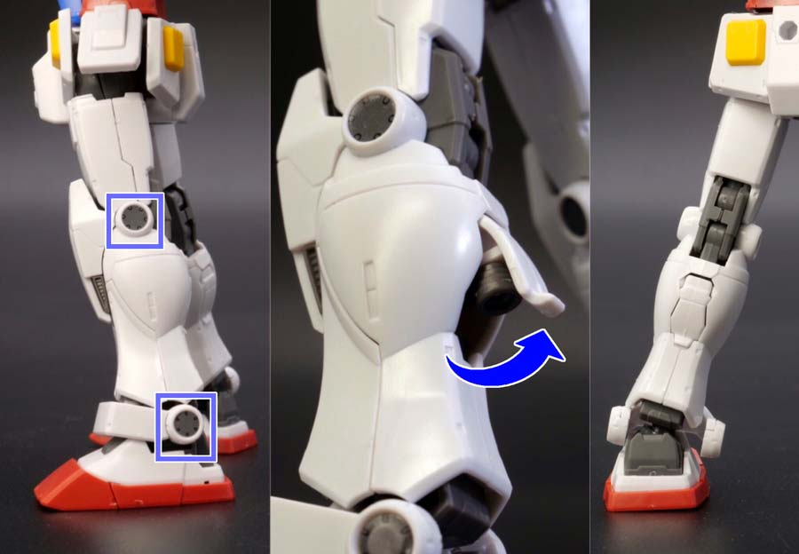 HG 1/144 RX-78-02 ガンダム(GUNDAM THE ORIGIN版)の前期型の脚部とふくらはぎ開閉ギミックの画像です