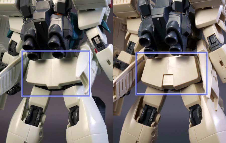 HGジムIIIとユニコーンデザートカラーVer.の比較ガンプラレビュー画像です