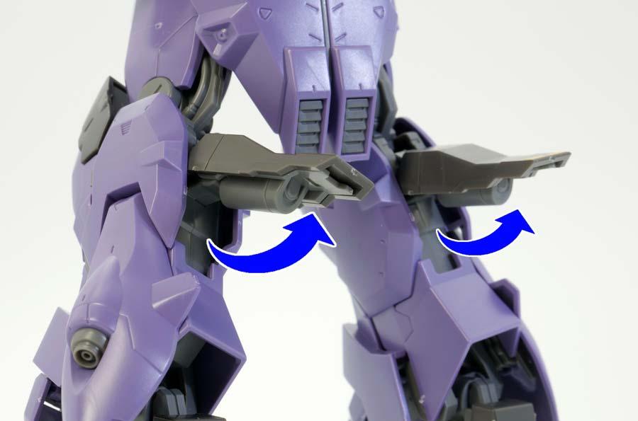 HGバルギルの脚部展開ギミックのガンプラレビュー画像です