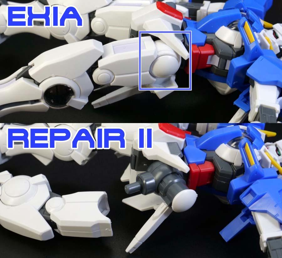 HGガンダムエクシアとリペア2の違い・比較ガンプラ画像です