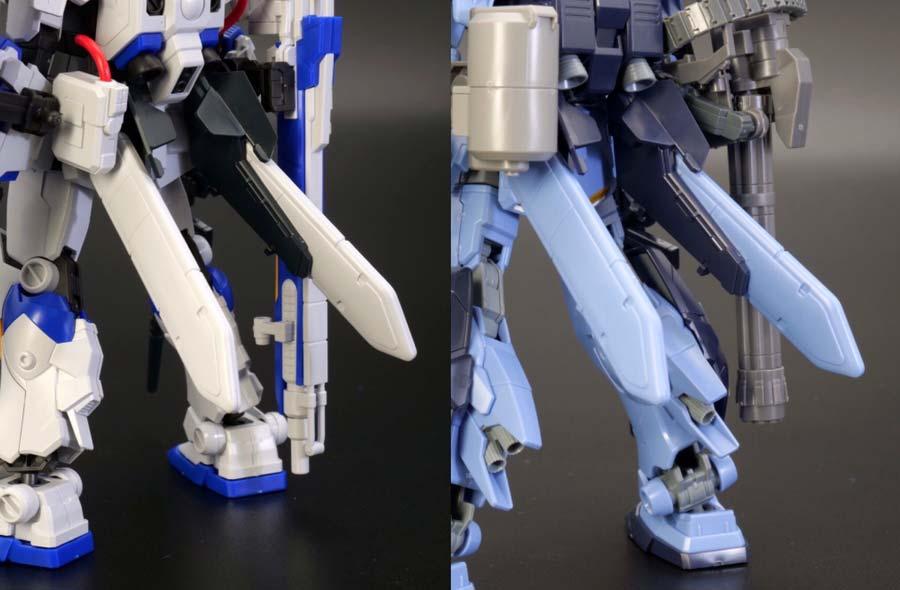 HGガンダム4号機とペイルライダー(空間戦仕様)の比較ガンプラレビュー画像です