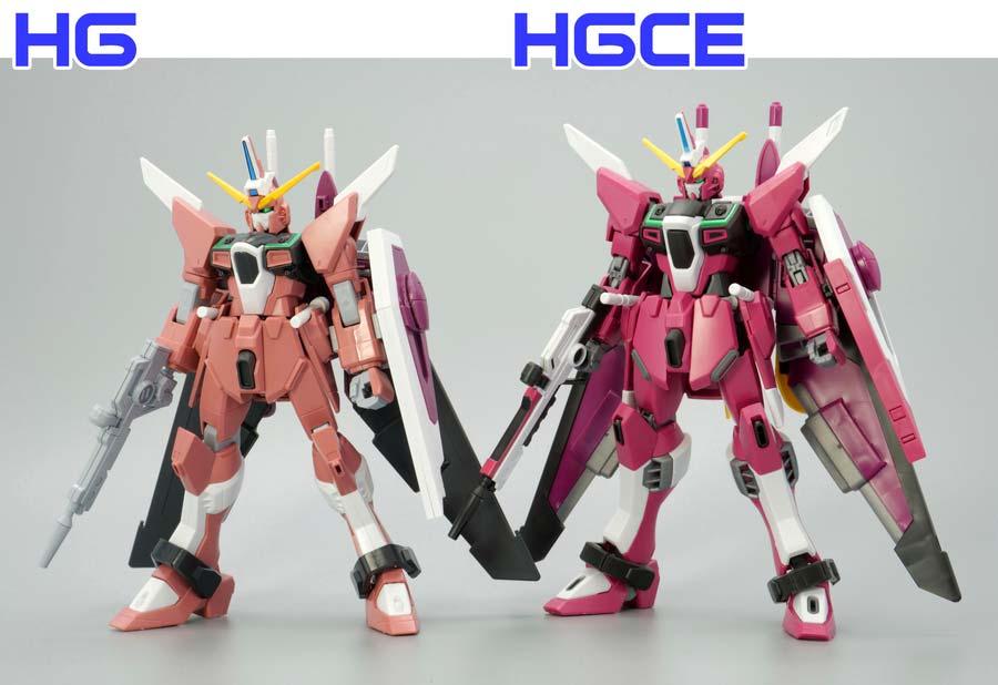 旧HGとHGCEインフィニットジャスティスの違い・比較ガンプラレビュー画像です