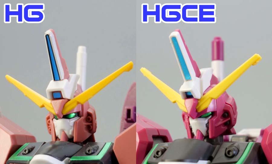 旧HGとHGCEインフィニットジャスティスの頭部の違い・比較ガンプラレビュー画像です