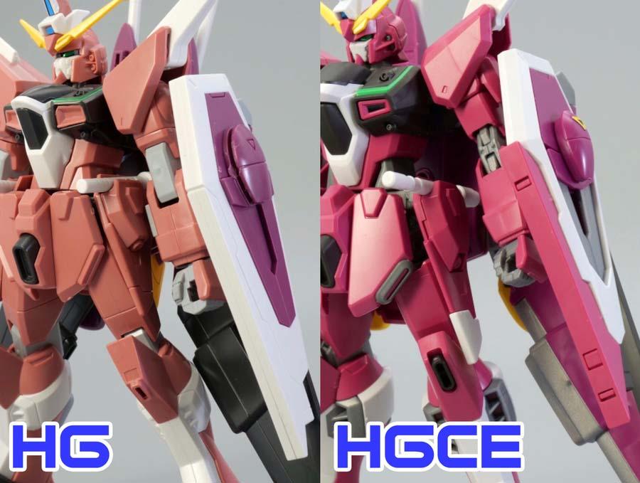 旧HGとHGCEインフィニットジャスティスの上半身の違い・比較ガンプラレビュー画像です