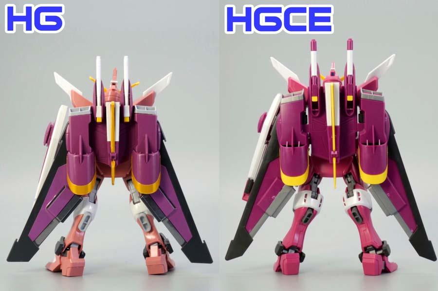 旧HGとHGCEインフィニットジャスティスのファトゥム-01の違い・比較ガンプラレビュー画像です