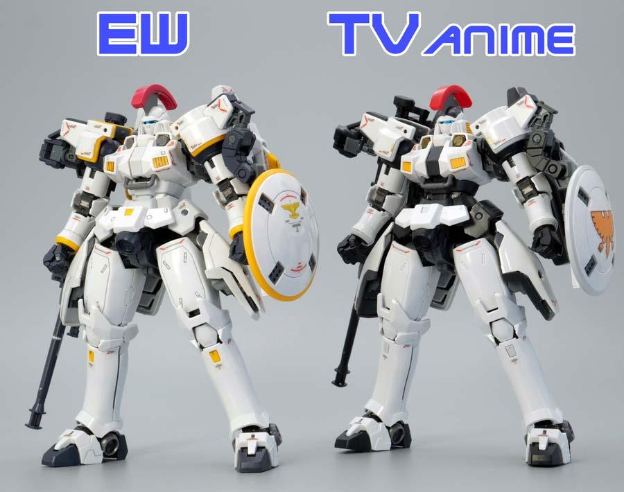 RGトールギスEWとTVアニメカラーVer.の違い・比較ガンプラ画像です