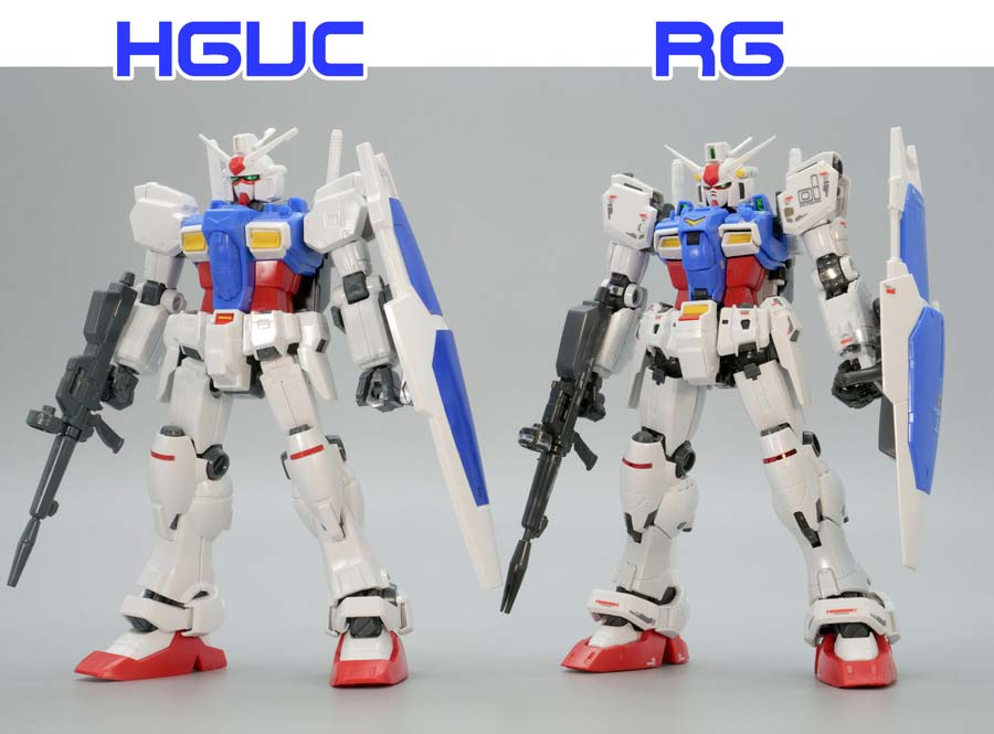 HGとRGガンダムGP01ゼフィランサスの比較ガンプラ画像です