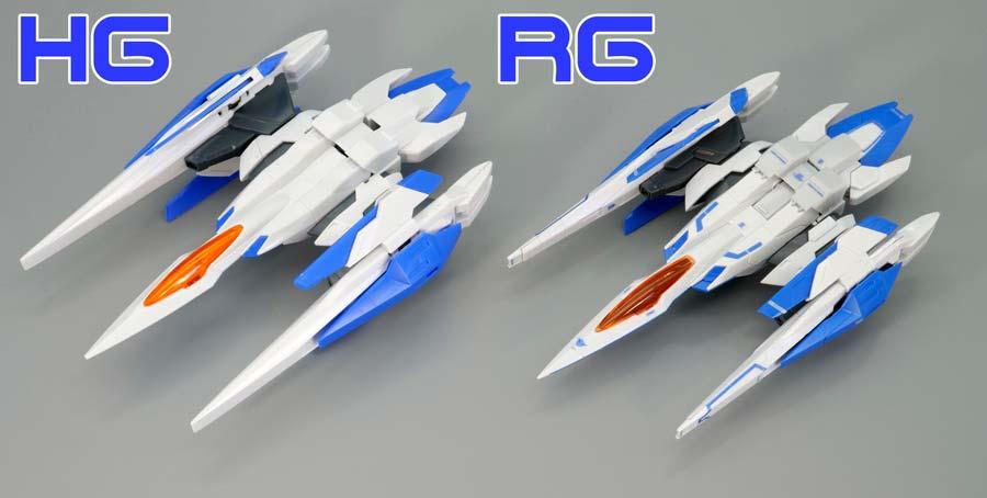 HGとRGダブルオーライザーの比較ガンプラレビュー画像です