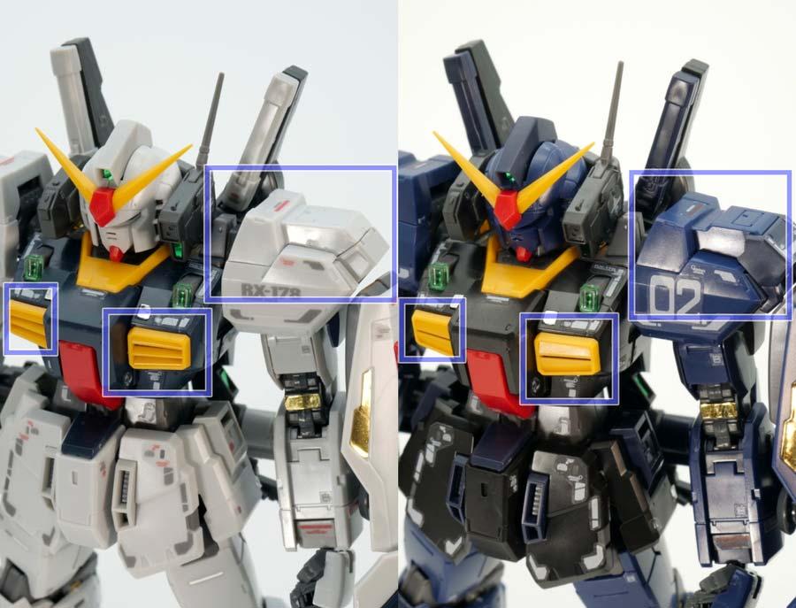 RGガンダムMk-II(エゥーゴ仕様)と(ティターンズ仕様)の比較ガンプラレビュー画像です
