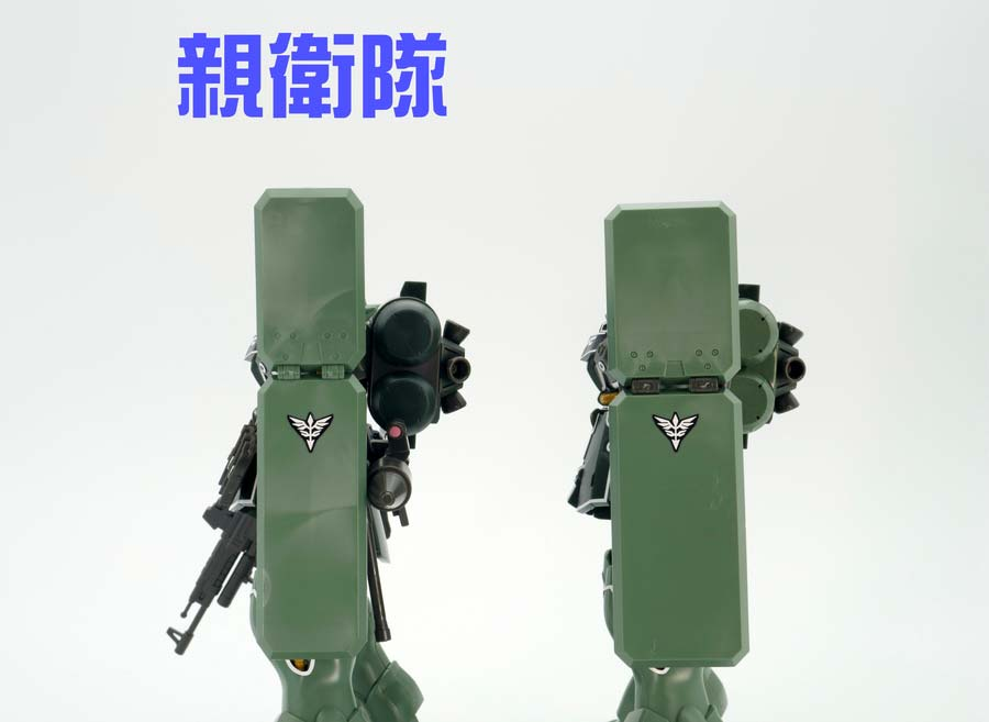 HGギラ・ズール親衛隊仕様とキュアロン機の比較ガンプラレビュー画像です