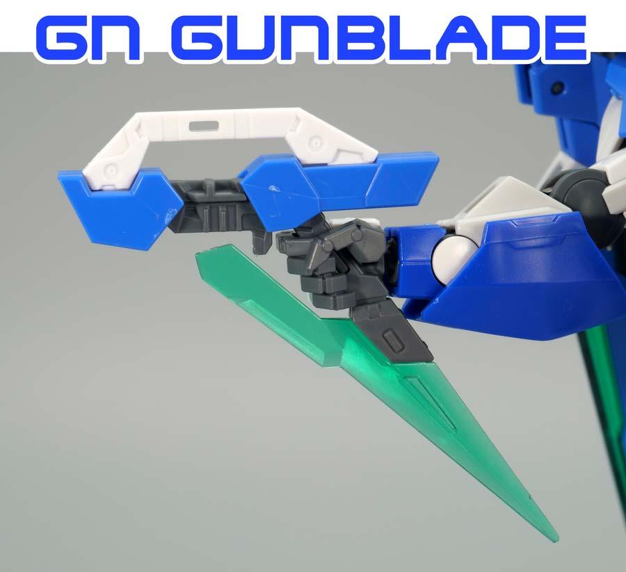 RGダブルオークアンタ フルセイバーのGnガンブレイドのガンプラレビュー画像です