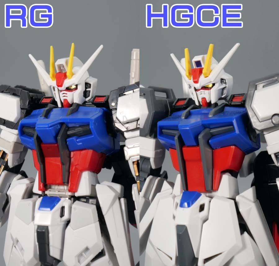 RGとHGCEのエールストライクガンダムの比較ガンプラレビュー画像です