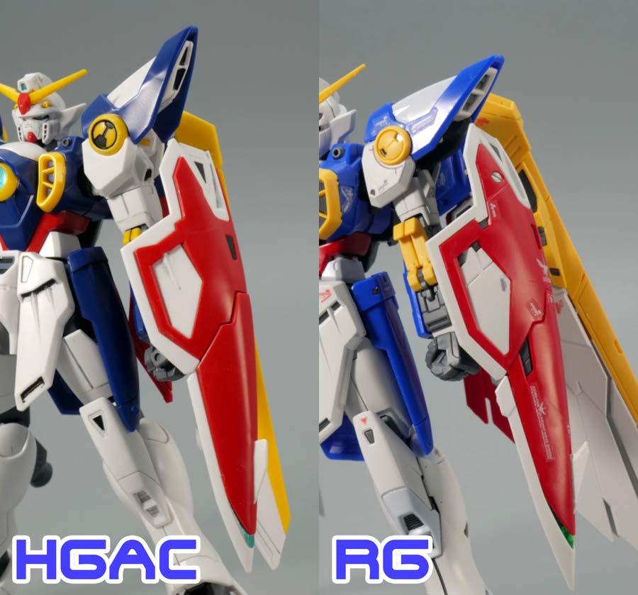 HGACとRGウイングガンダムの比較ガンプラレビュー画像です