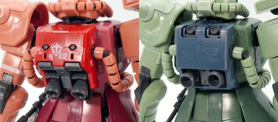 RGシャア専用ザクと量産型ザクの違い・比較ガンプラレビュー画像です