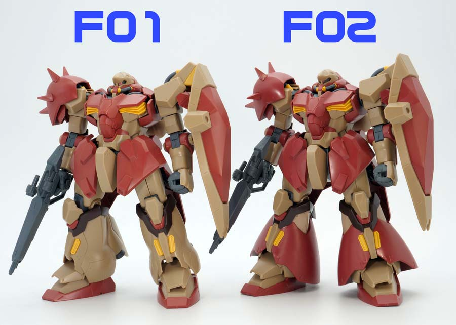 HGメッサーF01型とF02型の違い・比較ガンプラレビュー画像です